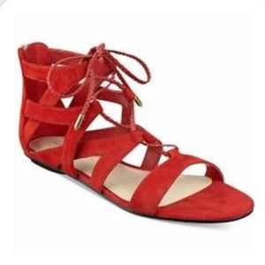 Marc Fisher red leather gladiator sandals